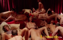 Amateur slutty swingers banging hard in orgy mansion