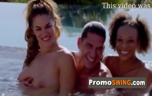 Horny swingers fucking each other in the pool